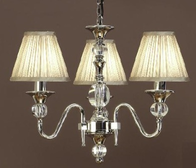 Polina Nickel 3 Light Chandelier with Beige Shades - Interiors 1900