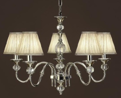 Interiors 1900 Polina 63580 5 Light Nickel Chandelier With Beige Shades | Luxury Lighting