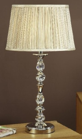 Polina Nickel Small Table Lamp with Beige Shade - Interiors 1900