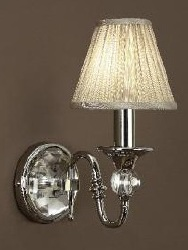Polina Nickel Wall Light with Beige Shade - Interiors 1900