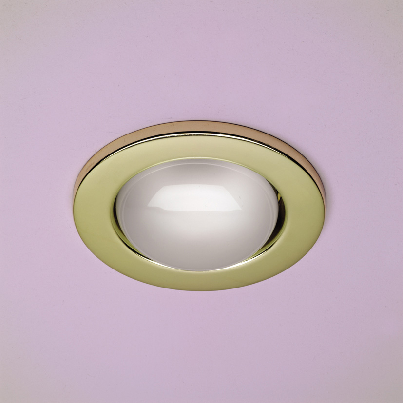 R80 Mains Voltage Fixed Downlight Brass R80 Fixed