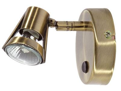 Romore Antique Brass Switched Single Spotlight - Oaks Lighting