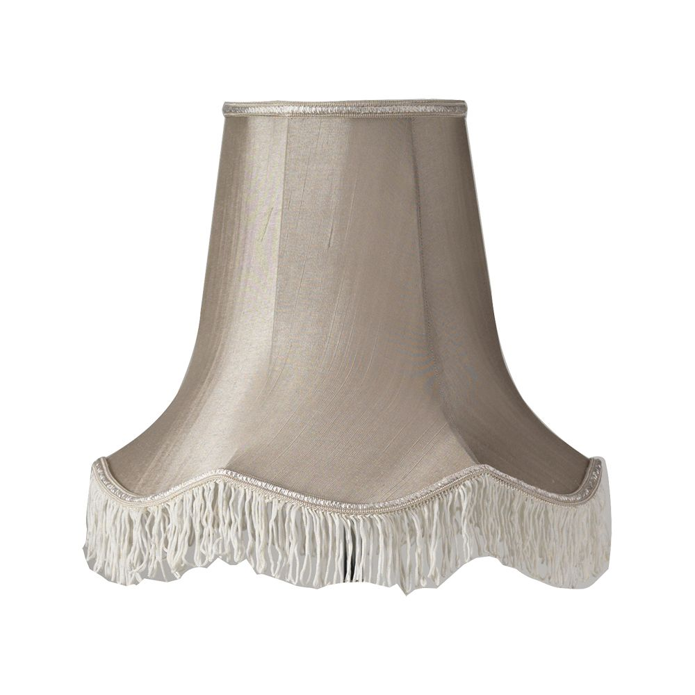 Oaks Soft Grey 20 Quot Fringed Scalloped Faux Silk Lampshade